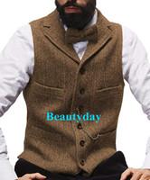 Wholesale waist dresses online - 2019 Farm Brown Groom Vests Wool Herringbone Tweed Vest Slim Fit Men s Suit Vest Prom Country Wedding Waistcoat Dress Tailor Made Plus Size