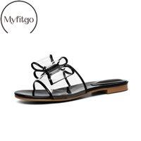 zapatillas transparentes planas al por mayor-Myfitgo Summer Clear PVC Mujer Zapatillas Bowknot Diapositivas planas con sandalias Diseñador de moda Mujer transparente Jelly Shoes Nuevo