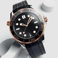 mergulhador de homens venda por atacado-Cinta De Borracha de Ouro Rosa Homens De Aço Inoxidável Automático de Luxo Mens Relógios Designer de Relógio Profissional Mergulhador 300 M Mestre NATO Relógios De Pulso