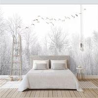 облачная живопись оптовых-Бесшовные обои Летающий птица сосновый лес облака стиль ТВ фон роспись стен