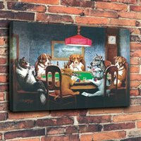 Wholesale art paintings dogs resale online - Dogs Playing Poker Home Decor Handpainted HD Print Oil Painting On Canvas Wall Art Canvas Pictures