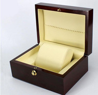 Wholesale wine gift boxes packaging resale online - Popullar Brand Wine Red Spray paint watch box luxury wood watch box with pillow package case watch Jewelry storage gift box