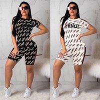 ingrosso tuta sportiva moda-Donne Lettera F stampato Tute Sport estivi Pantaloncini Pantaloni Moda Donna Tuta Abbigliamento casual