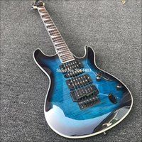 Wholesale electric guitar s for sale - Group buy High quality string electric guitar blue tiger veneer rose wood fingerboard double rocking bridge black accessories free s