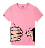 camiseta sexy rosa al por mayor-Verano hombres Mujeres Camiseta Diseñador mano grande Impresión 3D Algodón Casual Divertido camiseta rosa de manga corta delgada Sexy Femme T Shirt Lovers tees