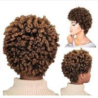 cosplay perverso al por mayor-Peluca rizada rizada Afro rizada del pelo corto Pelucas sintéticas de alta densidad para mujeres Peinados africanos cosplay mezclados de Brown
