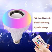 haut-parleurs de musique bluetooth achat en gros de-NOUVEAU E27 Smart LED Lumière RGB Sans Fil Bluetooth Haut-parleurs Ampoule Lampe Musique Jouer Dimmable 12 W Lecteur de Musique Audio avec 24 Touches Télécommande
