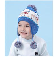 ingrosso cappello blu invernale dei ragazzi-Nuovo autunno / inverno 2019 Ear Baby Blue Deer cotone berretto di lana cappelli per ragazzi e ragazze dei bambini cappello caldo