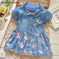 ingrosso tipo ragazze abiti-Nerlero Girls Dresses Bambini Turn Down Collar Bow Floral Edge Princess Dress Casual Denim Dress T-shirt Type Cute Kids Clothes