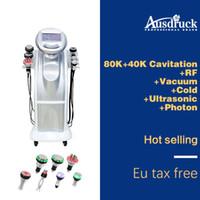 máquina reductora al por mayor-7in1 80 K Eliminación de pérdida de peso Celulitis reduce la cavitación ultrasónica de vacío RF Radio Frecuencia para adelgazar celulitis Máquina de belleza