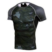 camisetas de futebol de manga curta venda por atacado-Quick Dry Rashgard Ginásio Camisa Esporte Homens Camisas de Manga Curta de Compressão de Fitness Top Camisa de Futebol Masculino Correndo Camisa Sportswear