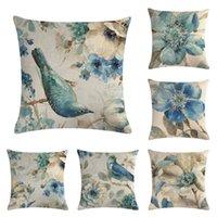 mavi kuş yastık örtüsü toptan satış-45 cm * 45 cm Mavi çiçekler ve mavi kuşlar desen keten / pamuk yastık örtüsü ve kanepe yastık kılıfı Ev dekoratif yastık örtüsü