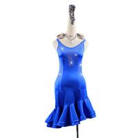 vestido azul con flecos latinos al por mayor-Piedras del Strass Vestido de Baile Latino Mujeres Azul Competencia Traje Fringe Rumba Samba Salsa Perform Latin Dancewear Personalizable