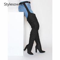 sur les chaussures achat en gros de-Prova perfetto Rihanna Sur Le Genou Bottes Femmes Chaussures Bout Pointu En Daim Plissée Talons Hauts Longues Cuisse Bottes Élevées Noir Sexy