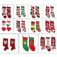 вязание подарочный пакет оптовых-Детские вязаные рождественские сумки чулок висячие носки подарочные пакеты шерстяные елки носки украшения жаккардовые конфеты носки подарочные 20шт LJJA2849