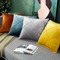Wholesale used beds resale online - Junwell Polyester Velvet Pintuck Decorative Pillow Plush Textured Geometry Sofa Bed Car Use Cushion Home Decor
