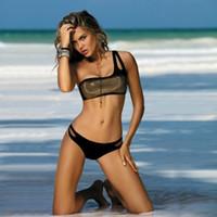 senhoras bonitas do biquini venda por atacado-Swimwear De Cintura Alta Swimsuit Senhoras Bikini Push Up 2019 Para As Mulheres Bonito Mini New Dourado Condole Belt Sexy Euramerican