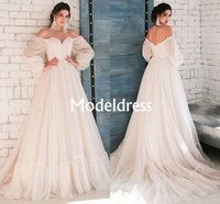 Wholesale simple unique wedding dress sleeves for sale - Group buy Bohemia Wedding Dresses Elegant Tulle Modern Bridal Gowns With Long Sleeves Soft Backless Tiered Bridal Dresses Classic Unique Stylish Train