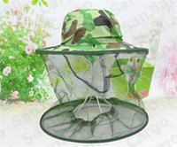 Wholesale mesh face mask halloween resale online - 2020 Fisherman Hat Camouflage Beekeeping Net Mesh Mask Cap Beekeeper Anti mosquito Bug Outdoor Head Face Protection Bucket Hat SALE E31004