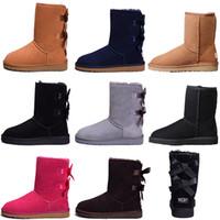 botas de invierno al por mayor-BOOTS Diseñador mujer invierno botas de nieve moda Australia clásico arco corto botas tobillo rodilla arco chica MINI Bailey Boot 2019 TAMAÑO 35-41 envío gratis