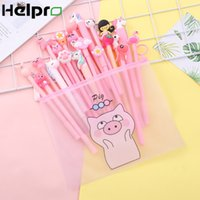 Wholesale kawaii pink pen for sale - Group buy Helpro Creative Cartoon Gel Pen Kawaii Animal Series Writing Pen Office School Stationery Supplies Big Gift Package