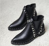 fan europe envio venda por atacado-Hot Sale-Sales Frete grátis atacado apontou rebite botas europa eua fã grosso com botas de cinto elástico confortável selvagem apontou