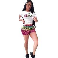 ropa deportiva de leopardo al por mayor-Mujeres de la marca de dos piezas shorts fija Leopard Print Designer chándales de manga corta camiseta Top Pantalones cortos Body Sportswear Trajes C62404