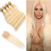 sarışın saç telleri toptan satış-Brezilyalı İnsan Saç Remy 613 # Renk Düz 4 Demetleri Ile 4X4 Dantel Kapatma Orta Üç Ücretsiz Bölüm Sarışın Saç Ürünleri 8-30 inç 5 Parça