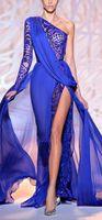 zuhair murad blau chiffon lang großhandel-Wunderschöne Zuhair Murad Abendkleider One Shoulder Langarm Königsblau High Side Slit Pageant Party Kleider Formal Prom Wear BO9766