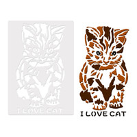 Wholesale art stencils for painting for sale - Group buy 26 cm I Love Cat Design Reusable Art Stencil Template For Wall Painting Scrapbooking Stamping Album Decor