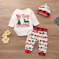 Wholesale baby pant bear resale online - Christmas Infant Romper Pants Hat Deer Bear cotton checked baby clothes New Year s Explosion