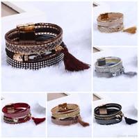 brasilianer armbänder großhandel-Böhmische Armbänder Vintage brasilianische Lederarmband Bijoux Magnet Magnetisches Armband
