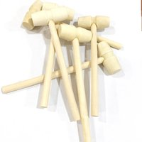 Wholesale knock wood toys for sale - Group buy Children Flat Head Toy Gavel Mini DIY Solid Wood Decoration Small Hammer Knock Planet Cake Wooden Hammer