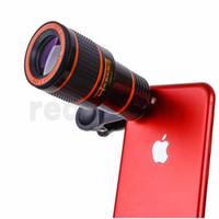 mobil kamera zoom lens toptan satış-8x Zoom Optik Telefon Teleskop Taşınabilir Cep Telefonu Telefoto Kamera Lens ve iphone akıllı telefon için Klip