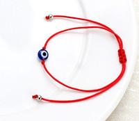 amuletos de cuerda roja al por mayor-Lucky Eye Blue Evil Eye Charms Pulsera Cuerda Roja Cuerda de hilo Pulsera Para Mujeres Hombres Regalos de Evil Eye