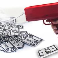 ingrosso conto contanti-Cannone Cash Soldi Super Money con banconote da 50 pezzi Spray dollari bill soldi pistola Make It Rain Party Funny Toys