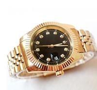 relógios a quartzo diamante venda por atacado-Relogio masculino diamante mens relógios moda Black Dial Calendário Pulseira de ouro Folding Fecho Mestre Masculino 2019 presentes casais