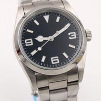 стальные часы оптовых-36MM Автоматические механические мужские часы Серебряный корпус Черный циферблат Фиксированная рамка из нержавеющей стали Указатели часов