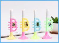 trompeteninstrument groihandel-Kreative Kinder Kunststoff kleines Spielzeug Baby Cartoon Trompete blasbare kleine Trompete Geschenk Musikinstrument