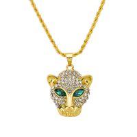 colares de moda para mulheres venda por atacado-Novo colar de hip-hop, cabeça de leopardo colar de pedra na moda Das Mulheres Dos Homens pingente por atacado