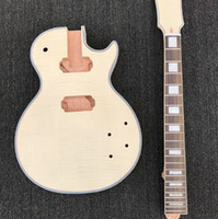 diy e-gitarre solide großhandel-DIY-unfertige elektrische Gitarren-Ausrüstung, fester Mahagoni-Körper-Spindelkasten sind mit Flammenahornoberseite, ohne Gitarrenteile, Großverkauf