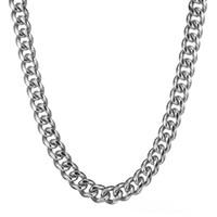 mens jóias de prata pesada venda por atacado-Granny Chic Moda Prata Aço Inoxidável 316L 15mm Pesado Prata Curb Mens Cuban Cadeia Colar de jóias 7