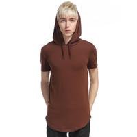 tshirts street style achat en gros de-New Mens High Street Style Zipper Hoodie Vente Chaude Respirant À Manches Courtes Européen Et Américain Vent T-shirts