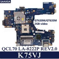 dizüstü bilgisayar test edildi toptan satış-KEFU QCL70 LA-8222P REV2.0 Laptop anakart ASUS K75VJ Testi için orijinal anakart GT630M / GT635M-2GB