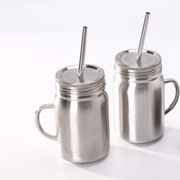 Wholesale stainless steel watering can for sale - Group buy Stainless Steel mug Mason Jar single wall ml cup with lid Stainless Steel straw Coffee beer juice mug mason Cans KKA6944