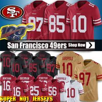 maillot de football 85 achat en gros de-10 Jimmy Garoppolo Jersey 85 George Kittle 97 Nick Bosa Maillots San Francisco 49er Football 25 Richard Sherman Jersey 80 Jerry Rice Maillots