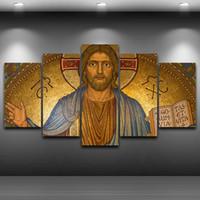 cópias da arte jesus venda por atacado-Arte Da Parede Da Lona moderna Cristo Cartaz HD Impresso Pintura A Óleo Quente Unframe 5 Peças Jesus Pictures Para Sala de estar Decoração de Casa