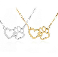 Wholesale white rhinestone dog collars resale online - New necklace simple European and American Pet paw dog claw peach heart pendant hollow collar chain necklace wl1079