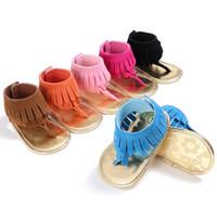 sandalia de diseño para niña al por mayor-Verano de los bebés de la borla de las sandalias zapatos infantiles antideslizantes de las sandalias antideslizante suave del flip-flop de diseño de moda Sole