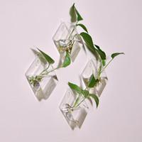 jarrones para bodas centros de mesa al por mayor-Original diamante hipotenusa florero colgante de pared decoración para el hogar moda colgante creativo pecera hidropónico dispositivo de arreglo de flores